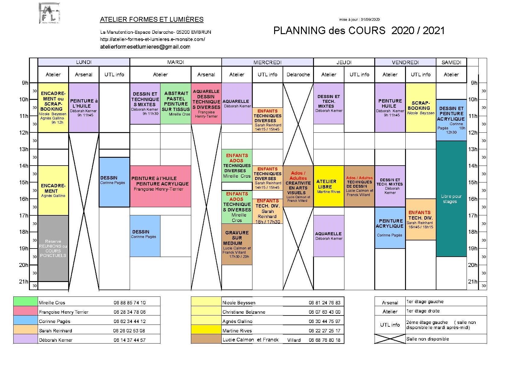 Planning 2020 2021 au 1er septembre 2